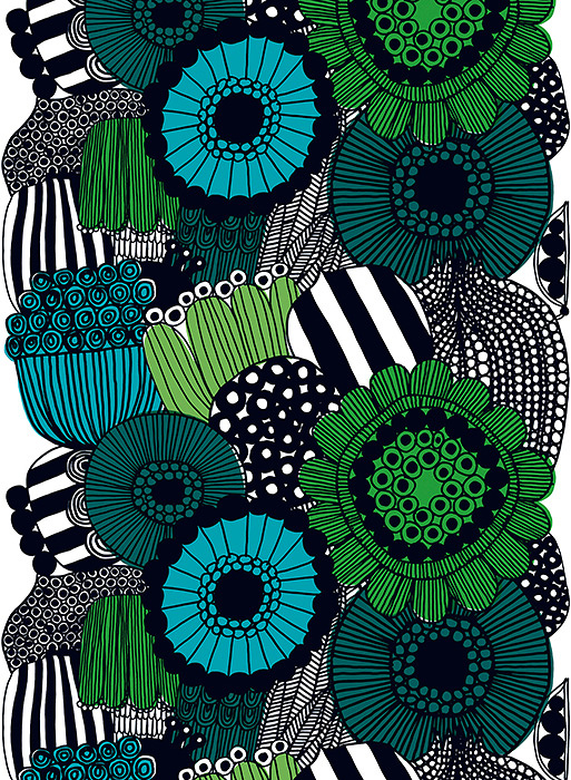 ファブリック『シィールトラプータルハ』(市民菜園) 図案デザイン:マイヤ・ロウエカリ 2009年 Siirtolapuutarha pattern designed for Marimekko by Maija Louekari in 2009