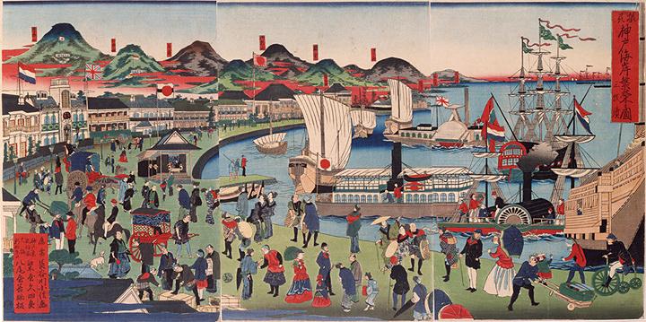 長谷川小信(二代貞信)『摂州神戸海岸繁栄之図』明治4年(1871) 神戸市立博物館蔵