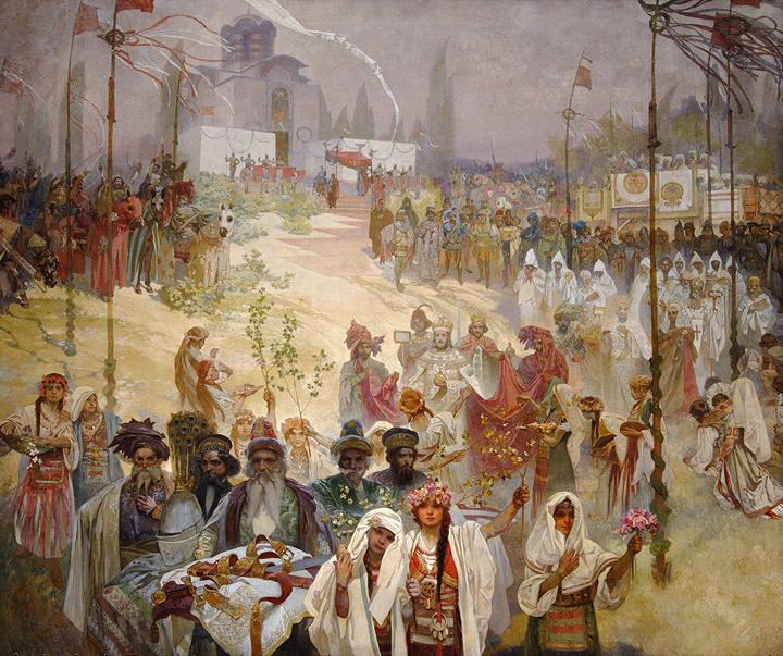 アルフォンス・ミュシャ『スラヴ叙事詩「東ローマ皇帝として戴冠するセルビア皇帝ステファン・ドゥシャン」』1923年 プラハ市立美術館 ©Prague City Gallery