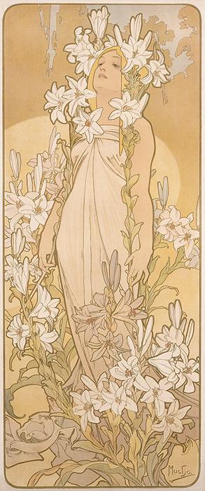 アルフォンス・ミュシャ『四つの花「ユリ」』1897年 堺市