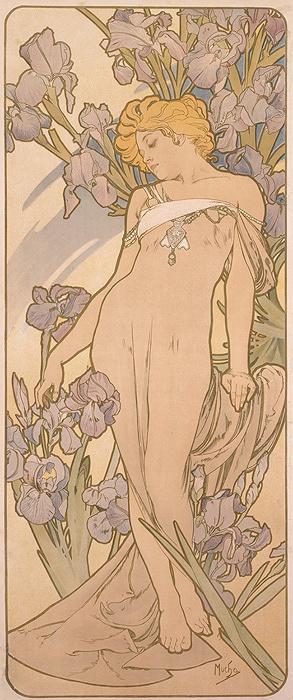 アルフォンス・ミュシャ『四つの花「アイリス」』1897年 堺市