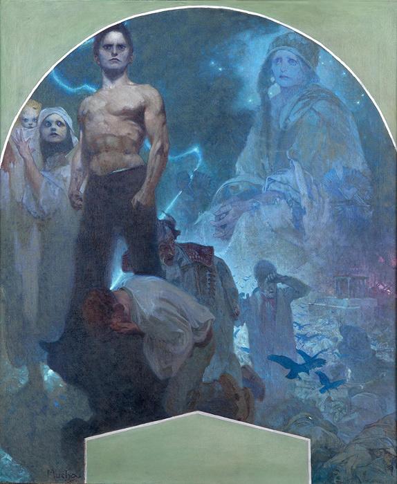 アルフォンス・ミュシャ『自力II 犠牲と勇気』プラハ市民会館壁画(下絵) 1911年 プラハ市立美術館 ©Prague City Gallery