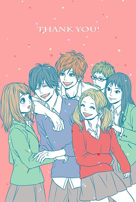 原作の高野苺によるイラストを使用したグッズビジュアル例 『TVアニメ「orange」展~未来のわたしからの手紙~』より