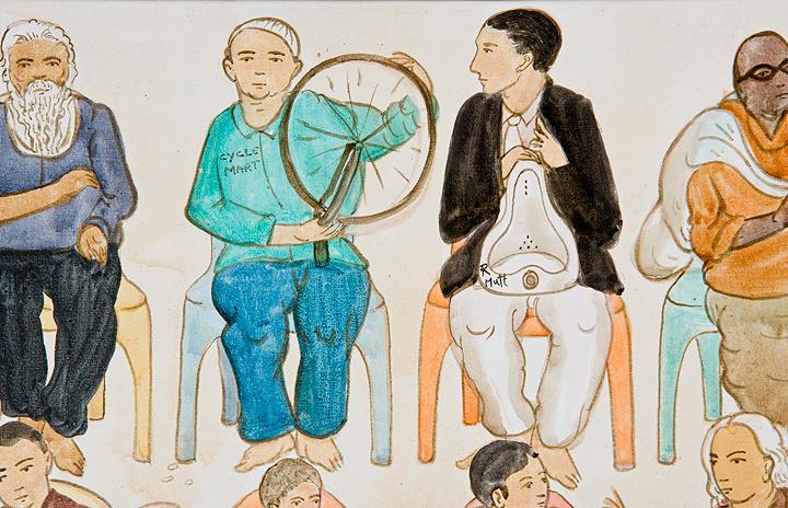 N・S・ハルシャ『ここに演説をしに来て』(部分)2008年 アクリル、キャンバス 182.9×182.9cm(×6) ©MORI ART MUSEUM All Rights Reserved.