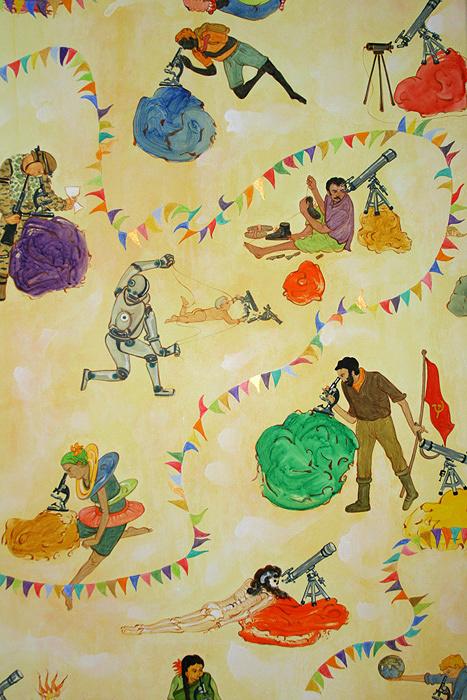 N・S・ハルシャ『探し求める者たちの楽園』(部分)2013年 アクリル、キャンバス 190×150cm 個人蔵 ©MORI ART MUSEUM All Rights Reserved.
