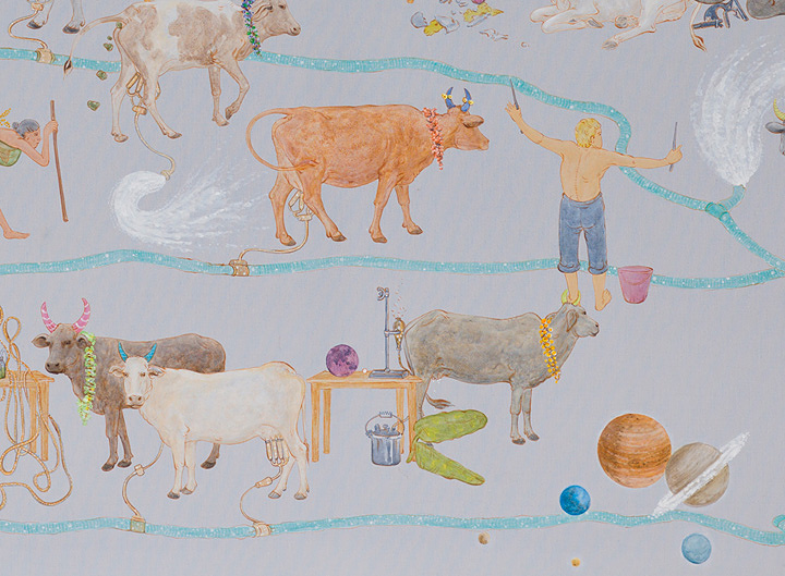 N・S・ハルシャ『この世でモー』(部分)2014年 アクリル、キャンバス 190×150cm 所蔵:有沢敬太 ©MORI ART MUSEUM All Rights Reserved.