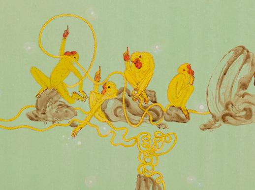 N・S・ハルシャ『道を示してくれる人たちはいた、いまもいる、この先もいるだろう』(部分)2014年 アクリル、キャンバス 190×150cm Courtesy: Victoria Miro, London ©MORI ART MUSEUM All Rights Reserved.
