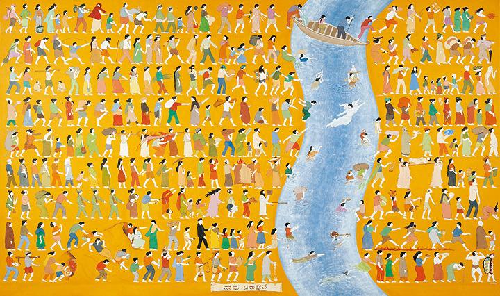 N・S・ハルシャ『私たちは来て、私たちは食べ、そして私たちは眠る』(部分)1999-2001年 合成樹脂絵具、キャンバス 172.1×289.3cm、169.7×288.5cm、172.2×289.2cm 所蔵:クイーンズランド州立美術館、ブリスベン ©MORI ART MUSEUM All Rights Reserved.