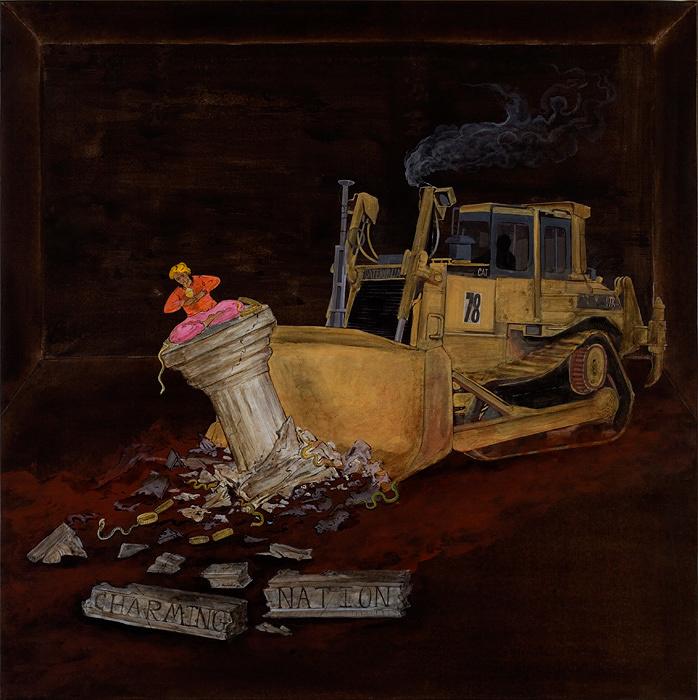 N・S・ハルシャ『チャーミングな国家』(『チャーミングな国家』シリーズより)2006年 アクリル、キャンバス 97×97cm 所蔵:ルチラ・アガーワル、ムンバイ ©MORI ART MUSEUM All Rights Reserved.