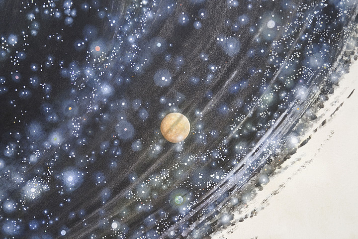 N・S・ハルシャ『ふたたび生まれ、ふたたび死ぬ』(部分)2013 年 アクリル、キャンバス、ターポリン 365.8×2,407.9cm ©MORI ART MUSEUM All Rights Reserved.