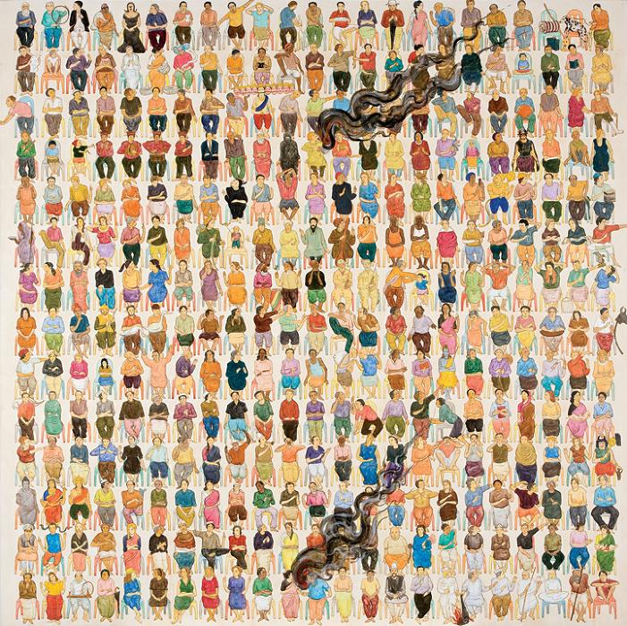 N・S・ハルシャ『ここに演説をしに来て』2008年 アクリル、キャンバス 182.9×182.9 cm(×6) ©MORI ART MUSEUM All Rights Reserved.