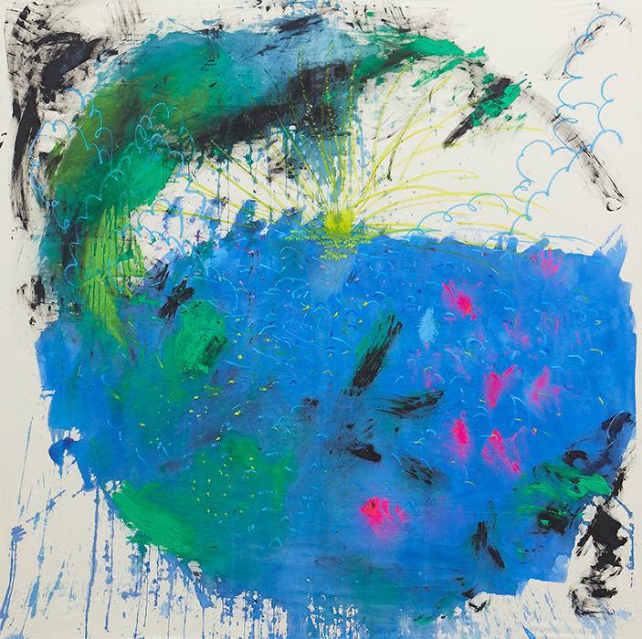 大宮エリー『まざーあーす』2016年 acrylic on canvas 189.0×190.0cm photo by Kenji Takahashi ©Ellie Omiya, Courtesy of Tomio Koyama Gallery / Koyama Art Projects
