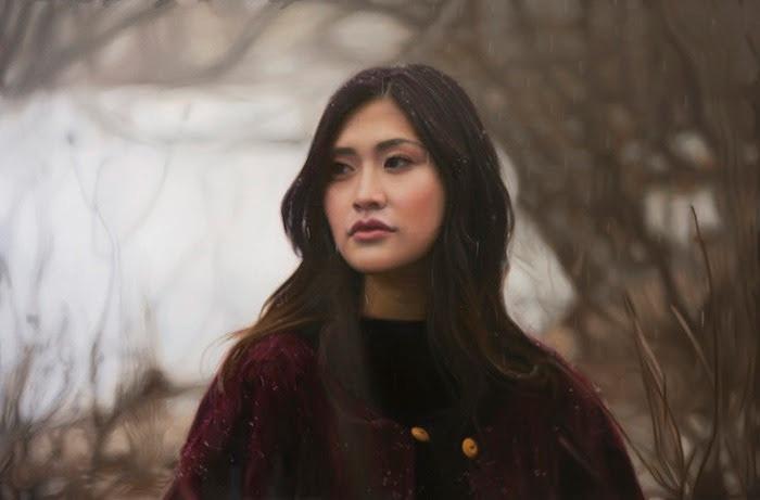 イガル・オゼリ『Untitled; Kaori』2016年 oil on canvas 50.8×76.2cm ©Yigal Ozeri, Courtesy of the artist