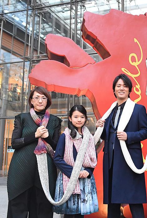 左から荻上直子監督、柿原りん、桐谷健太 『第67回べルリン国際映画祭』にて