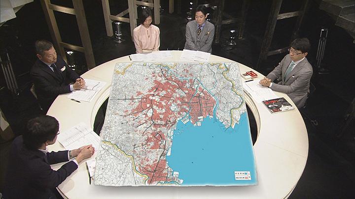 太平洋戦争による東京の被災状況。赤い部分が焼失した区域。