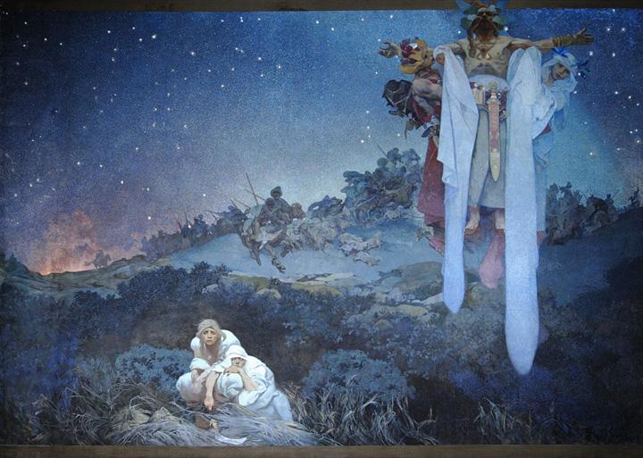 『原故郷のスラヴ民族』1912年 テンペラ、油彩/カンヴァズ プラハ市立美術館 ©Prague City Gallery