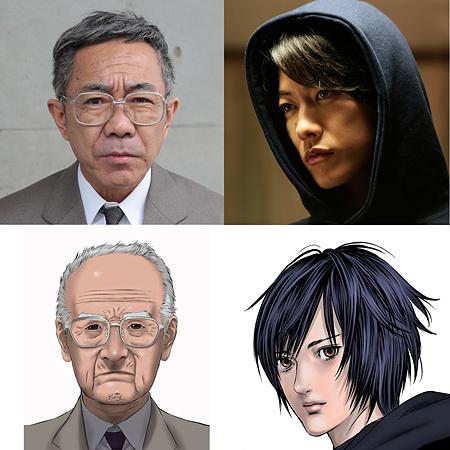 左:犬屋敷壱郎役の木梨憲武と原作ビジュアル、右:獅子