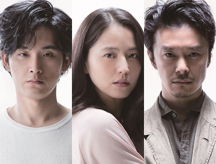 左から加瀬真治役の松田龍平、鳴海役の長澤まさみ、桜井役の長谷川博己
