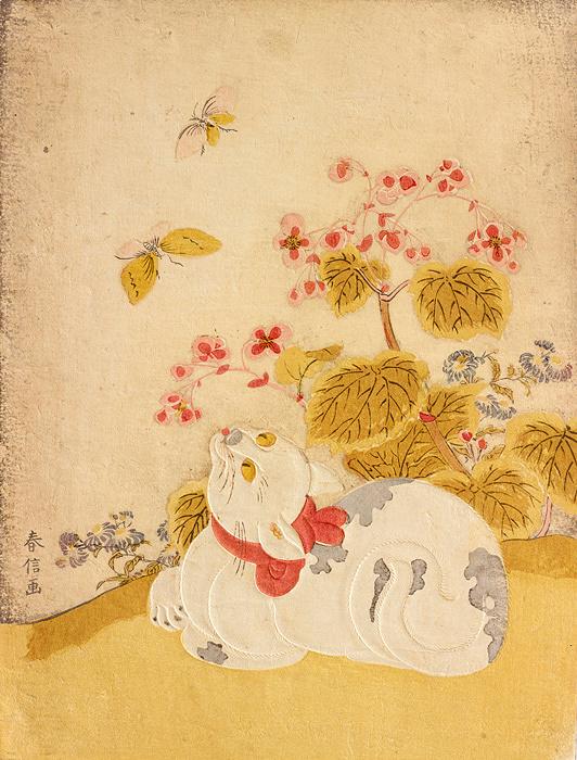 鈴木春信『猫に蝶』