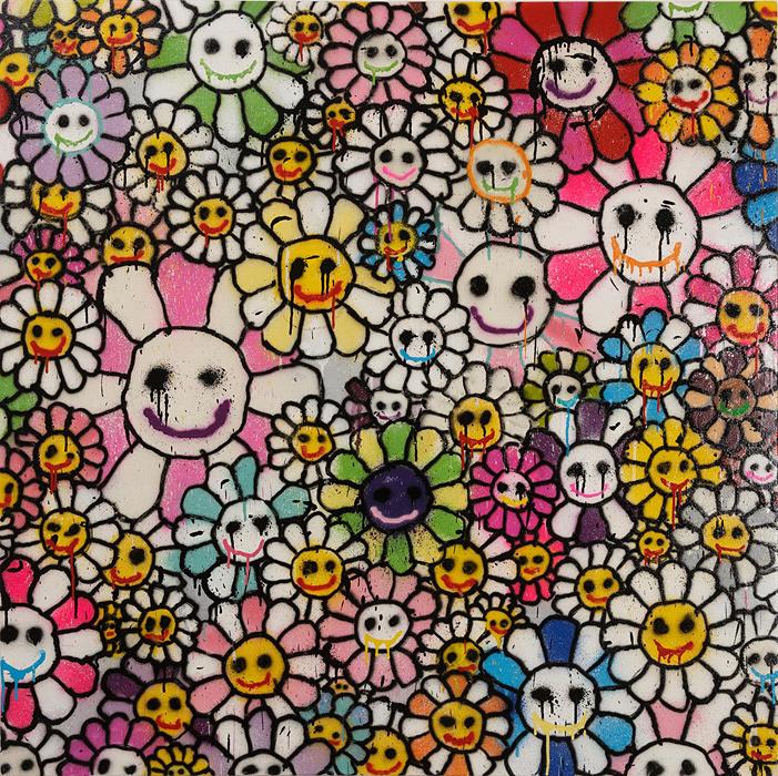 MADSAKI『Homage to Takashi Murakami Flowers 2』2016 Acrylic paint, aerosol on canvas 1,000×1000mm