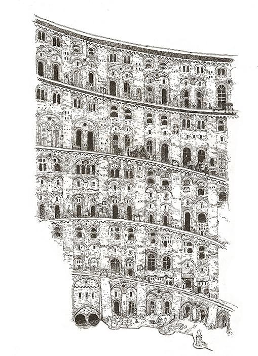 大友克洋『INSIDE BABEL下絵(奥1)』 2017年 インク、紙 ©マッシュ・ルーム 大友克洋