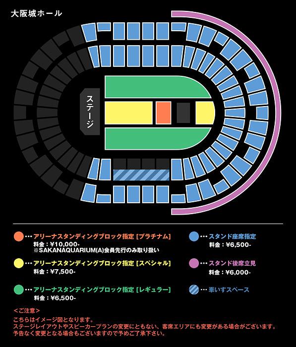 『SAKANAQUARIUM2017 10th ANNIVERSARY Arena Session 6.1ch Sound Around』大阪公演シート図