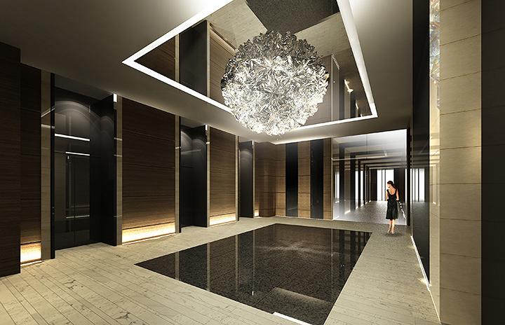 松尾高弘『Prism Chandelier』1階エレベーターホール