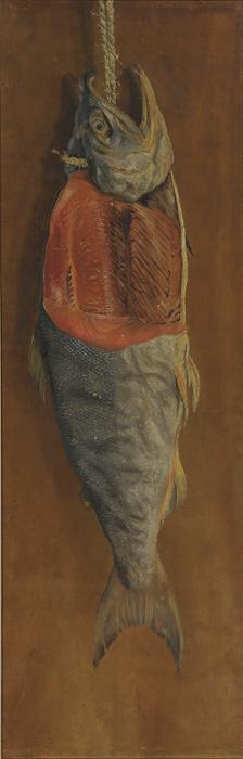 高橋由一『鮭』(重要文化財)明治10年頃(19世紀)通期展示 東京藝術大学蔵