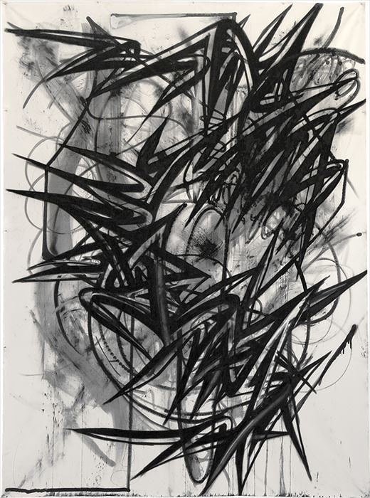 Enrico Isamu Oyama, FFIGURATI #20, Acrylic-based aerosol, acrylic-based marker, graphite, pencil and sumi ink on unstretched canvas H3.37m×W2.45m, 2012, Enrico Isamu Oyama,  Photo ©Yojiro Imasaka, Courtesy of Takuro Someya Contemporary Art