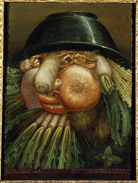 ジュゼッペ・アルチンボルド『庭師/野菜』1590年頃 油彩、板 クレモナ市立美術館