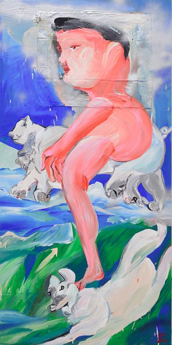 近藤亜樹『飛べ、こぶた』2016, oil on wooden panel, 182×91cm copyright the artist courtesy of ShugoArts