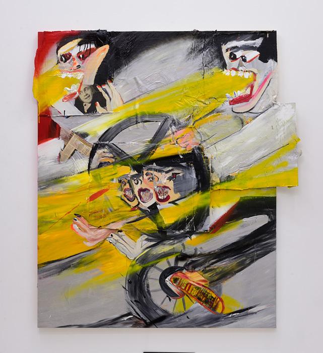 近藤亜樹『飛び出せ危険』2017, acrylic, lacquer, collage on panel, 163×147cm copyright the artist courtesy of ShugoArts