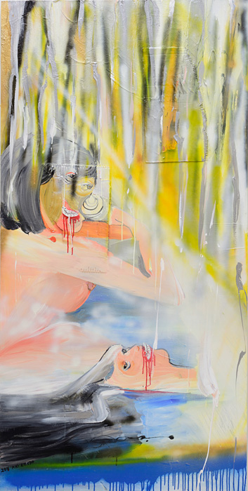 近藤亜樹『湯』2016, oil on wooden panel, 182×91cm copyright the artist courtesy of ShugoArts