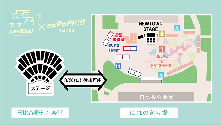 『exPoP!!!!! vol.100』『NEWTOWN』会場マップ