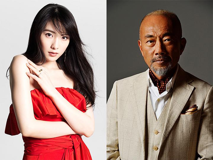 左から知英 撮影:井上ユミコ、竹中直人