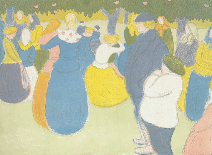 ヨージェフ・リップル=ローナイ『村の祭り(画家=版画家集)』1896年 多色刷りリトグラフ アムステルダム、ファン・ゴッホ美術館
