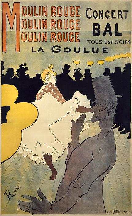 アンリ・ド・トゥールーズ=ロートレック『ムーラン・ルージュ、ラ・グーリュ』1891年 多色刷りリトグラフ 三菱一号館美術館