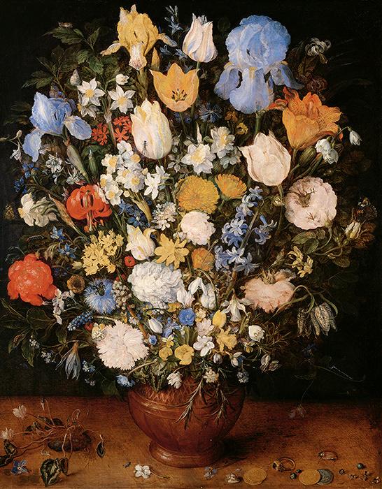 ヤン・ブリューゲル(父)『陶製の花瓶に生けられた小さな花束』1607年頃、油彩・板、ウィーン美術史美術館 ©KHM-Museumsverband