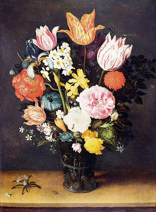 ヤン・ブリューゲル1世、ヤン・ブリューゲル2世『机上の花瓶に入ったチューリップと薔薇』 1615-1620年頃 Private Collection