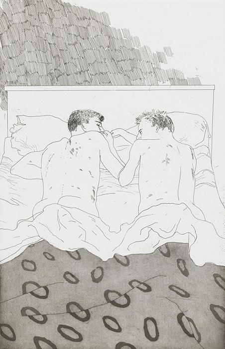 デイヴィッド・ホックニー『23, 4歳のふたりの男子』C.P. カヴァフィスの14編の詩のための挿絵より 1966年 Tate: Purchased 1992 ©David Hockney