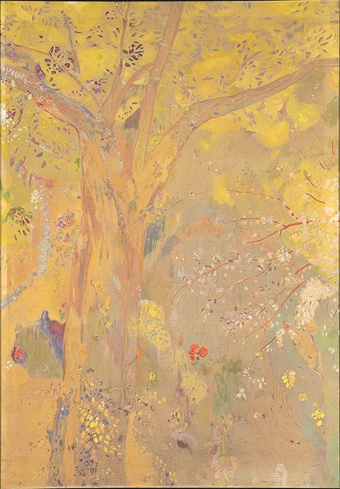 ドムシー男爵の城館の食堂壁画15枚のうち『黄色い背景の樹』1900-1901年 木炭、油彩、デトランプ/カンヴァス オルセー美術館蔵 Photo ©RMN-Grand Palais (musée d'Orsay) / Hervé Lewandowski / distributed by AMF