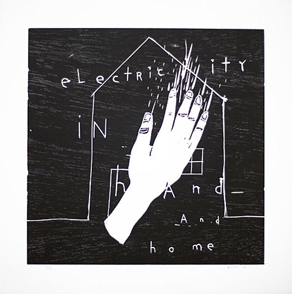 デヴィッド・リンチ『Electricity in Hand and Home』2010 wood cut h.50.0×w.50.0cm ©David Lynch, Courtesy Item Editions
