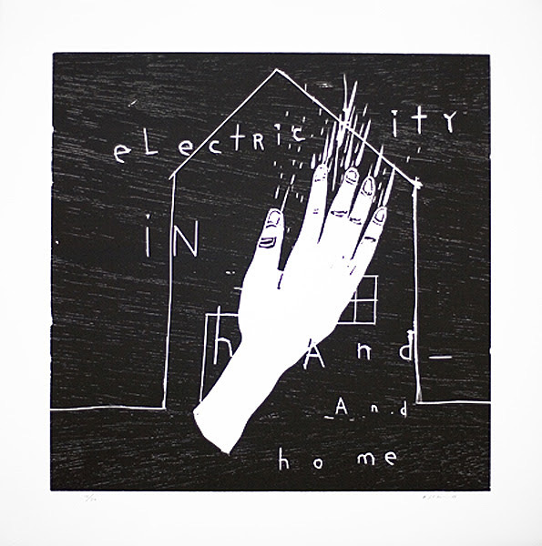 デヴィッド・リンチ『Electricity in Hand and Home』2010 wood cut h.50.0×w.50.0cm ©David Lynch, Courtesy Item Editions