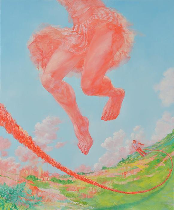 グランプリ 仙石裕美『それが来るたびに跳ぶ 降り立つ地面は跳ぶ前のそれとは異なっている』アクリル、油彩、キャンバス 194×162㎝