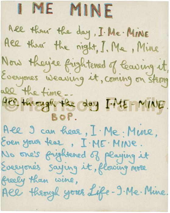 作詞原稿「I Me Mine」 ©Harrison Family