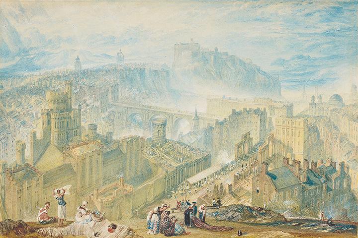 『コールトン・ヒルから見たエディンバラ』 1819年頃 水彩、鉛筆、グワッシュ、スクレイピングアウト・網目紙 16.8×24.9cm エディンバラ、スコットランド国立美術館群 ©Trustees of the National Galleries of Scotland