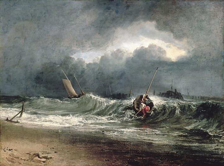 『風下側の海岸にいる漁師たち、時化模様』 1802年展示 油彩・カンヴァス 91.5×122cm サウサンプトン・シティ・アート・ギャラリー ©Bridgeman Images / DNPartcom