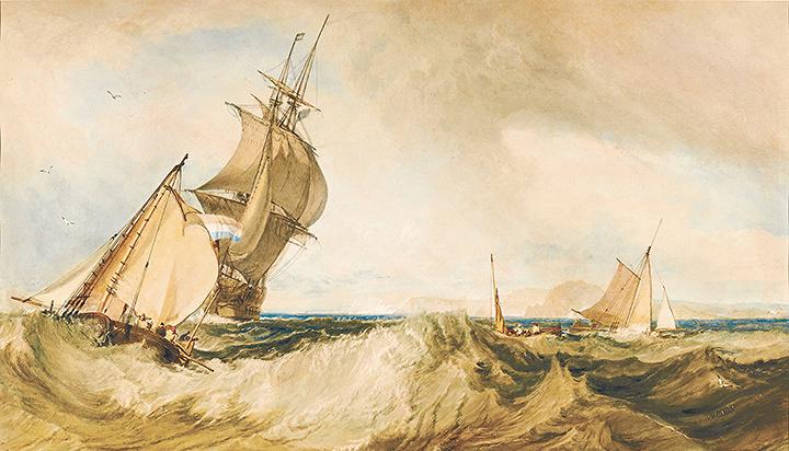 『セント・オールバンズ・ヘッド沖』 1822年頃 水彩・紙 39.8×68cm ハロゲイト、メーサー・アート・ギャラリー ©Mercer Art Gallery, Harrogate Borough Council