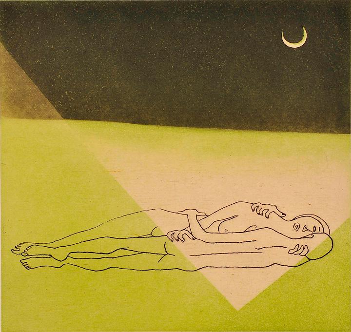 浜田知明『月夜』1977年 エッチング、アクアチント 町田市立国際版画美術館蔵