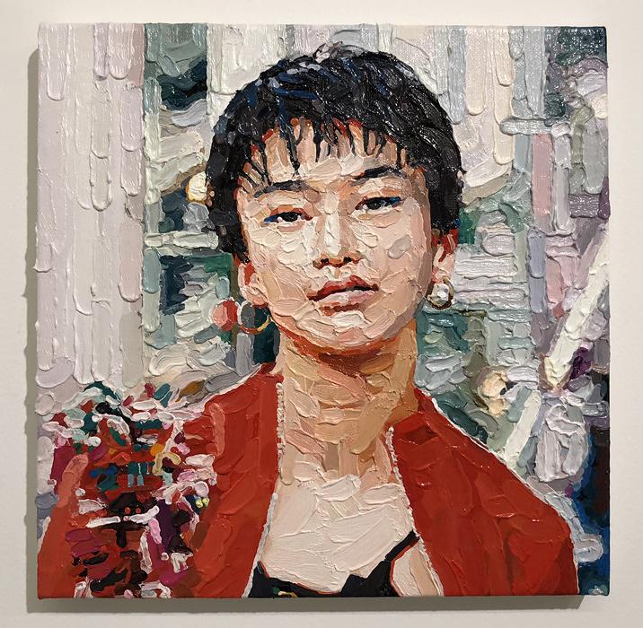 富田直樹『No job』2018、27.3×27.3 cm、キャンバスに油彩 ©Naoki Tomita / MAHO KUBOTA GALLERY